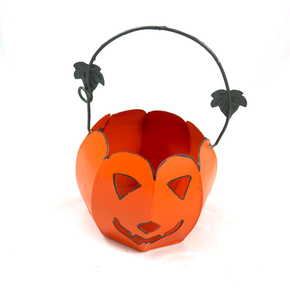 Metal Jack-o'-Lantern with Vine Leaf Handle