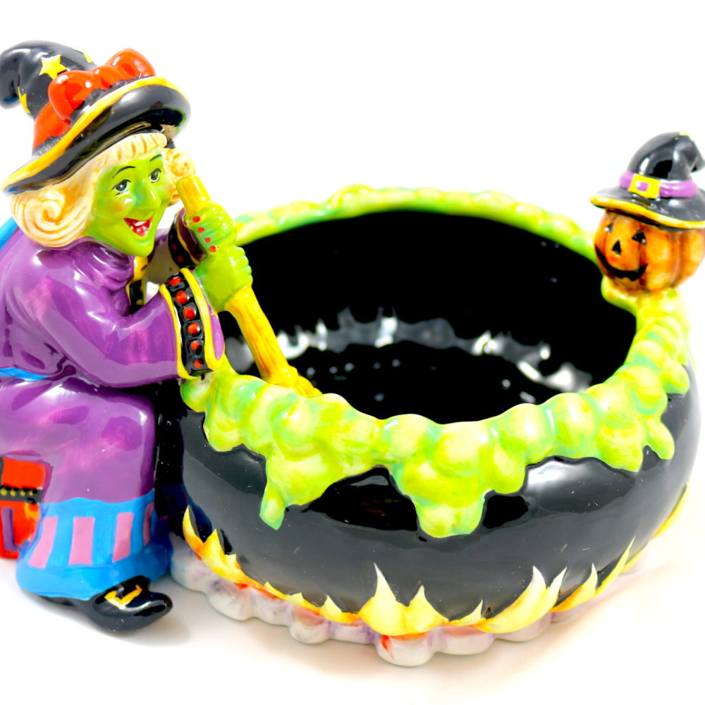 Witch Cauldron & Jack-O'-Lantern Ceramic Candy Bowl