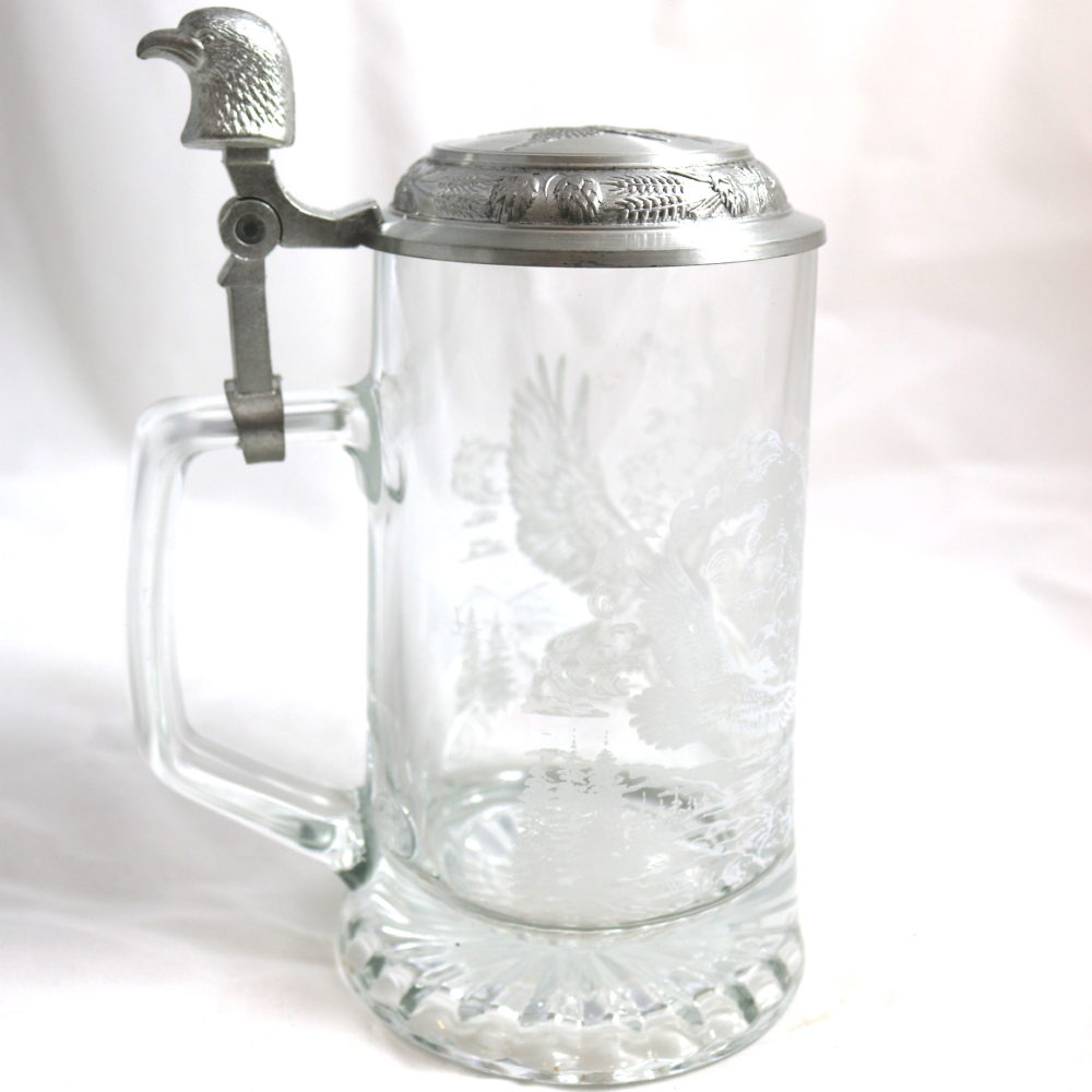 Etched Eagles Beer Stein with Pewter Lid